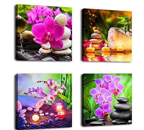 Canvas Wall Art Zen Canvas Prints Spa Stone Green Bamboo Pink