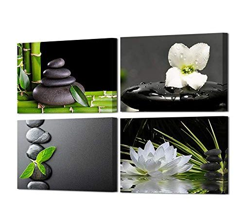 Buddha with Water Lily Black//White Canvas Picture Wall Deco Art Print